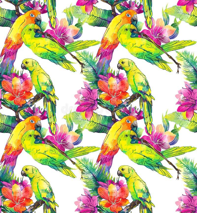 Papagaios amarelos e flores exóticas ilustração stock