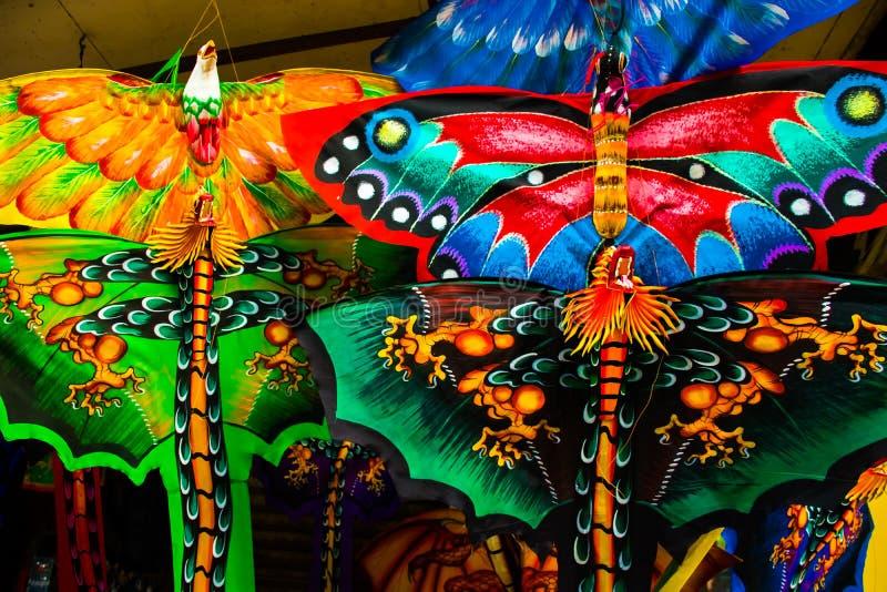 Papagaios coloridos feitos à mão bonitos, Bali, Indonésia imagens de stock royalty free