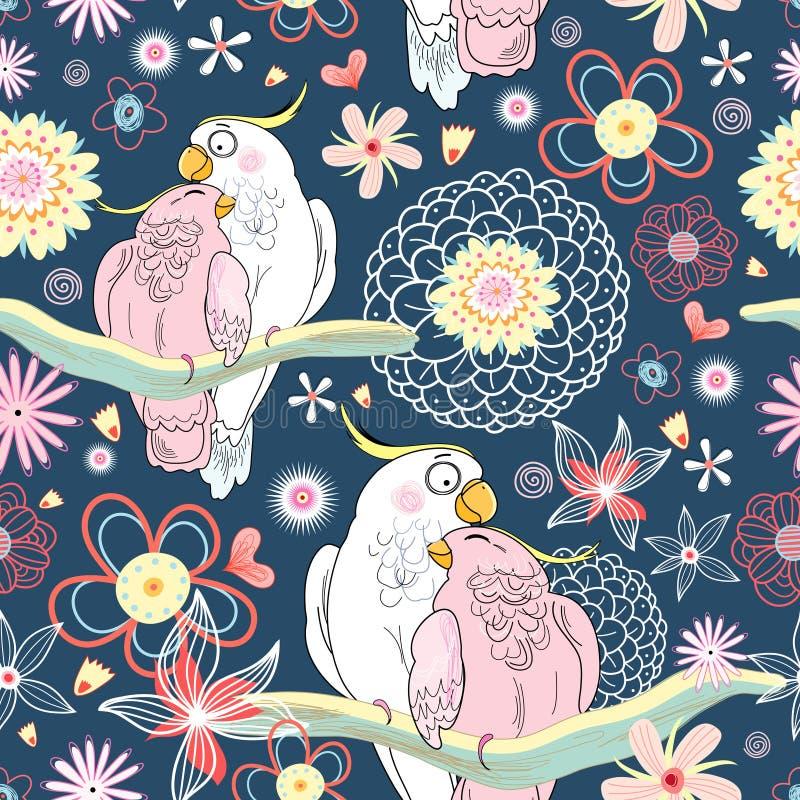 Papagaios do amor da textura ilustração do vetor