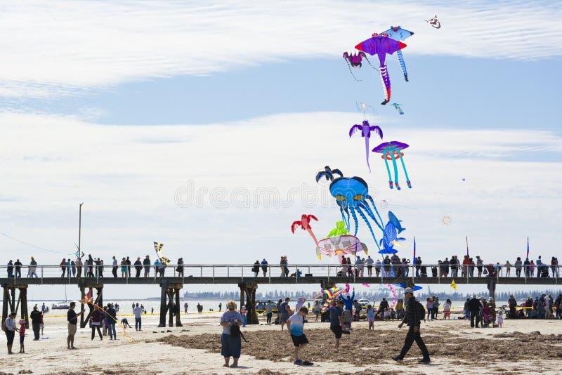 Papagaios do voo sobre o molhe em Adelaide International Kite F foto de stock royalty free