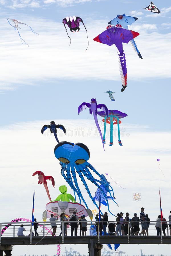 Papagaios do voo sobre o molhe em Adelaide International Kite F imagem de stock royalty free