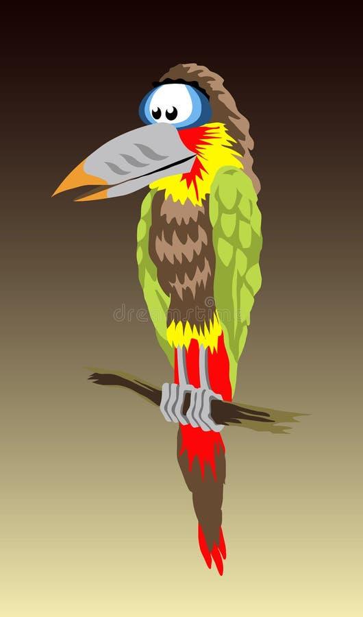 Papagei auf Zweig stock abbildung