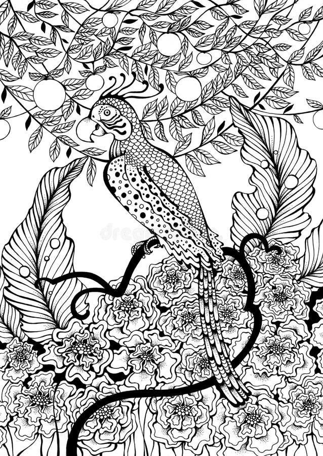 Papagei, der auf Ast sitzt lizenzfreie abbildung