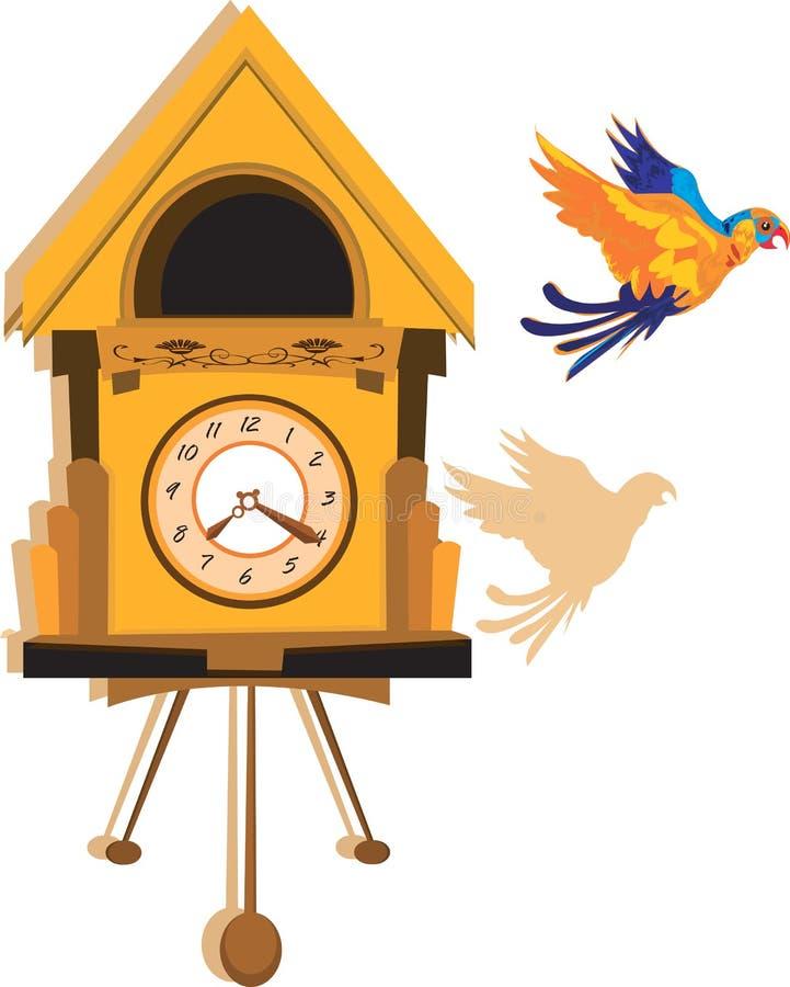 Papagei und hängende Borduhr vektor abbildung