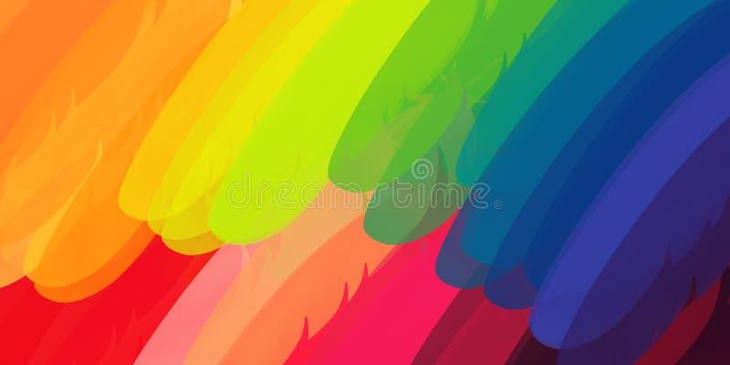 Papageienfedern extrahieren Hintergrund in der Regenbogenfarbe vektor abbildung