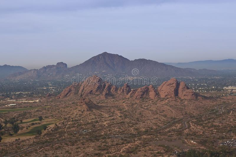 Papago Park with Camelback Mountain in Phoenix, Arizona. An aerial view of Papago Park with Camelback Mountain in the background; in Phoenix, Arizona stock photo