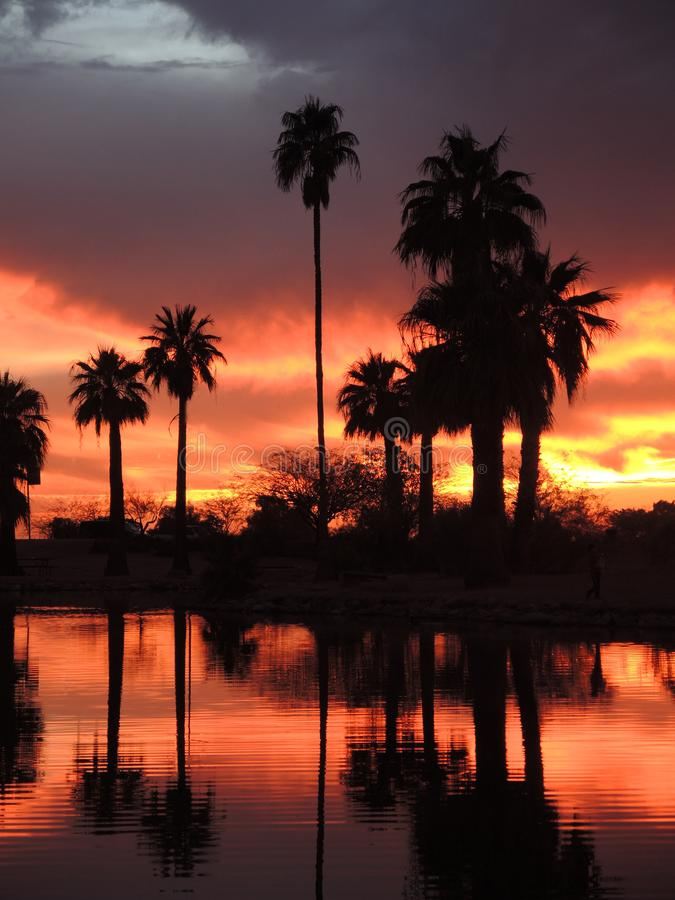 Papago Park in Tempe Arizona, offers spectacular sunsets. The Papago Park in Tempe Arizona. A popular spot for people of Tempe to visit and view the colorful royalty free stock image