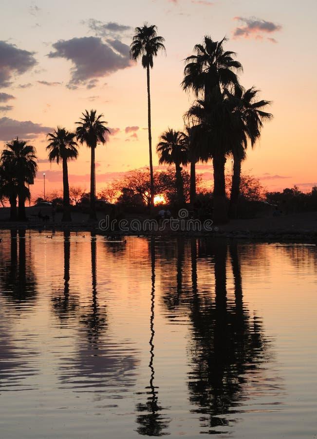Papago parkerar i Tempe Arizona, erbjuder spektakulära solnedgångar fotografering för bildbyråer