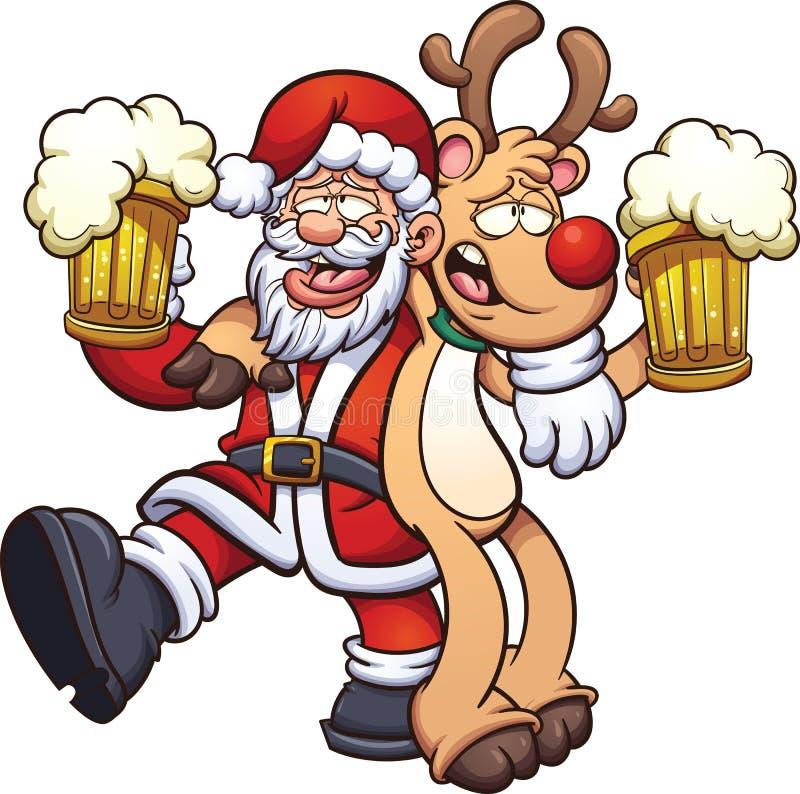 Papai Noel bêbedo ilustração royalty free