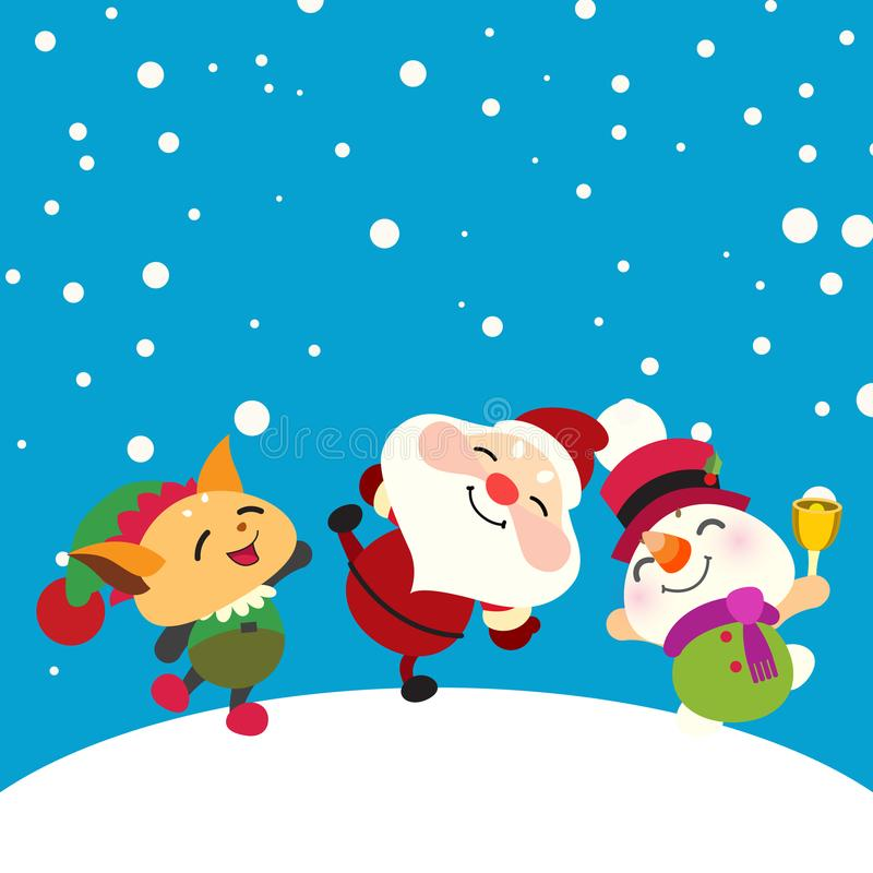 Papai Noel, boneco de neve e duende felizes ilustração do vetor