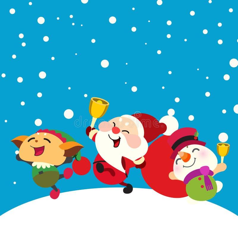 Papai Noel, boneco de neve e duende felizes ilustração royalty free