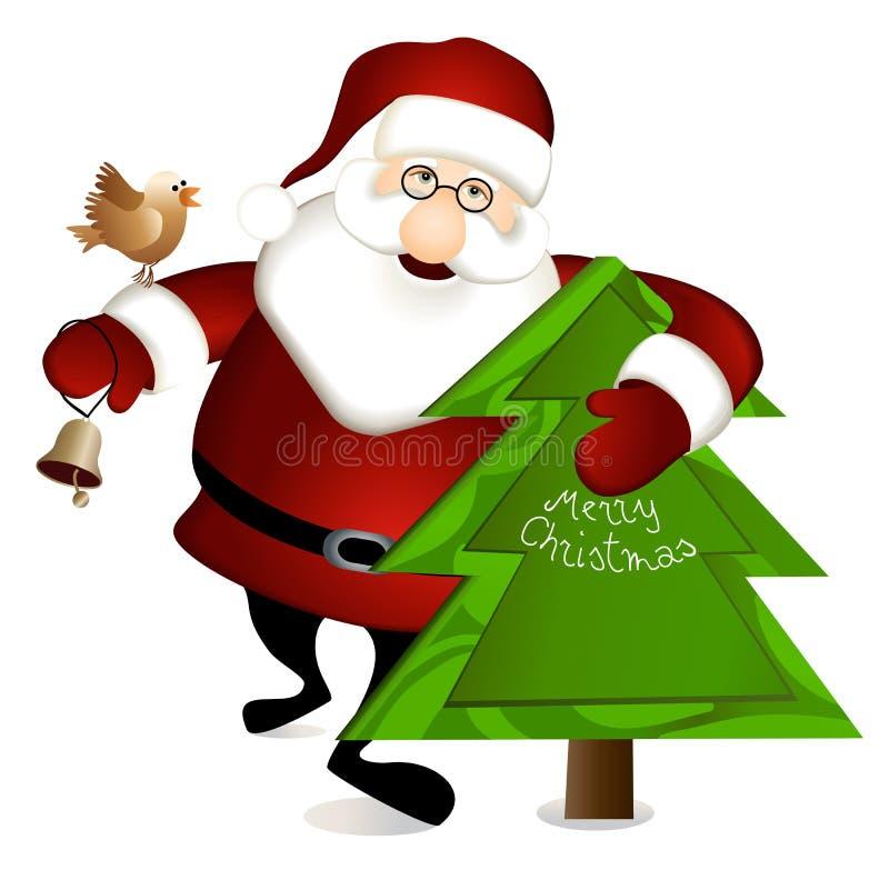Papai Noel com árvore de Natal ilustração royalty free