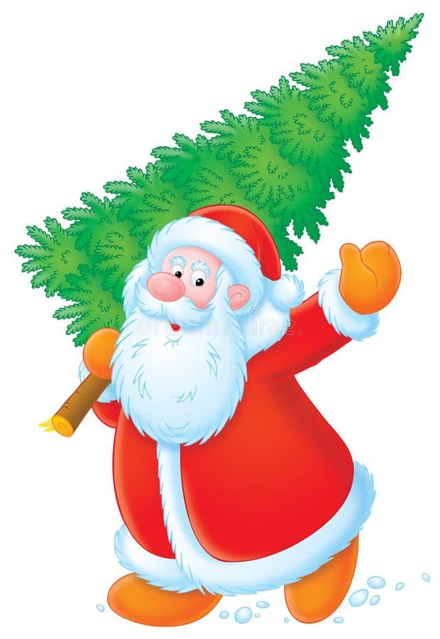 Papai Noel com árvore de Natal ilustração stock