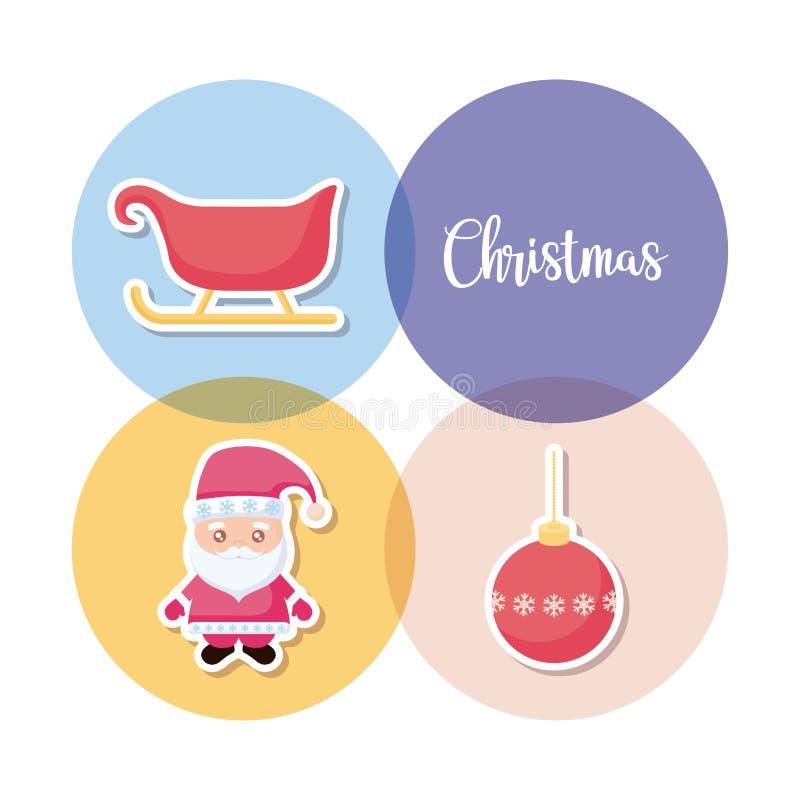 Papai Noel com ícones ajustados do Natal ilustração do vetor