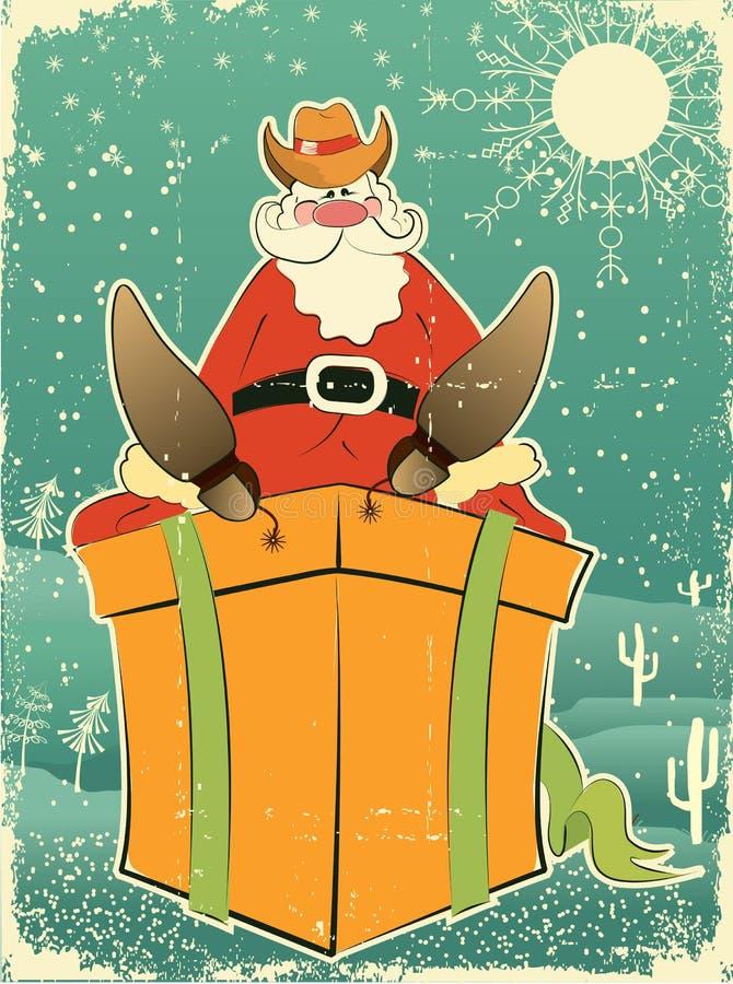 Papai Noel com chapéu e carregadores de cowboy ilustração stock