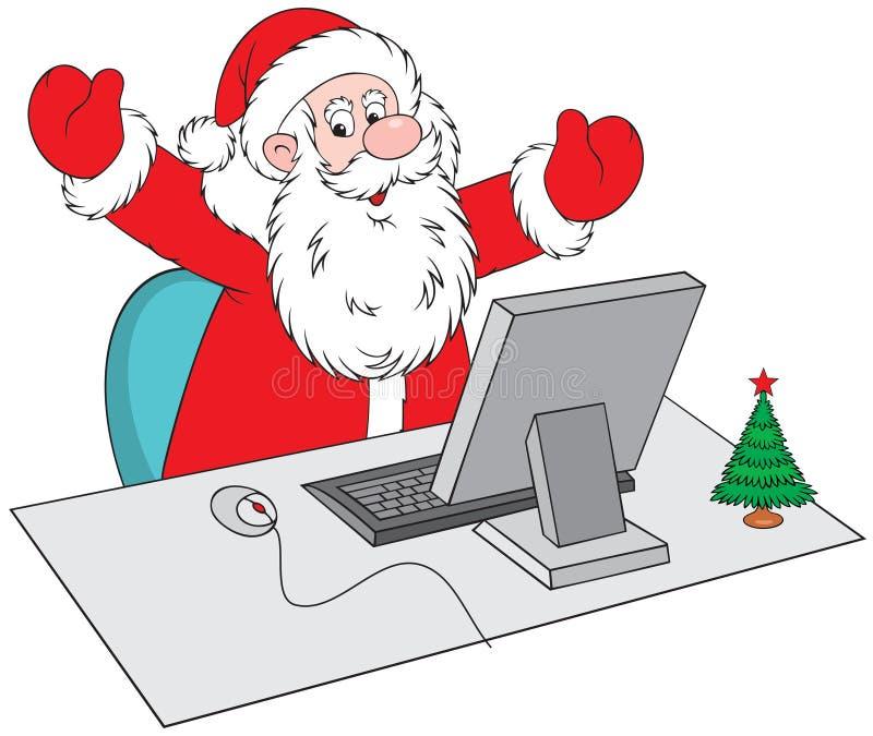 Papai Noel com computador ilustração royalty free