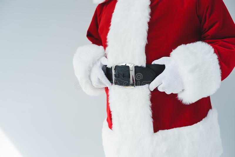 Papai Noel com correia fotografia de stock royalty free