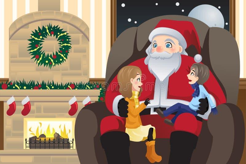 Papai Noel com dois miúdos ilustração do vetor