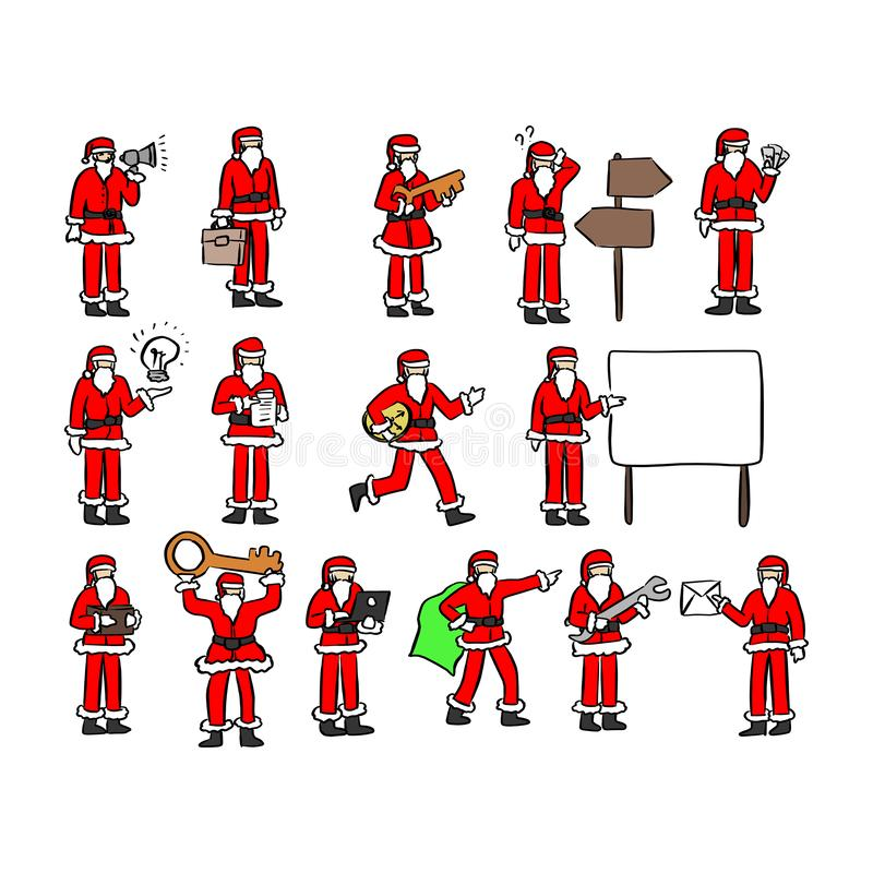 Papai Noel com a mão da garatuja do esboço da ilustração do vetor dos ícones do conceito do negócio tirada com as linhas pretas i ilustração stock