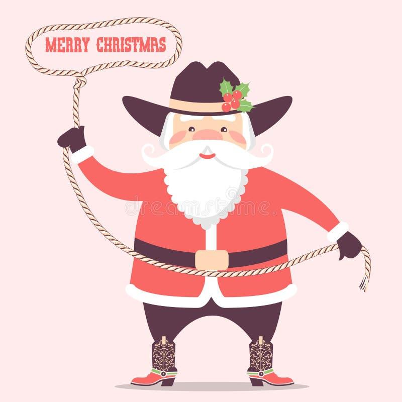 Papai Noel com o chapéu e as botas ocidentais do vaqueiro Natal do vetor ilustração royalty free