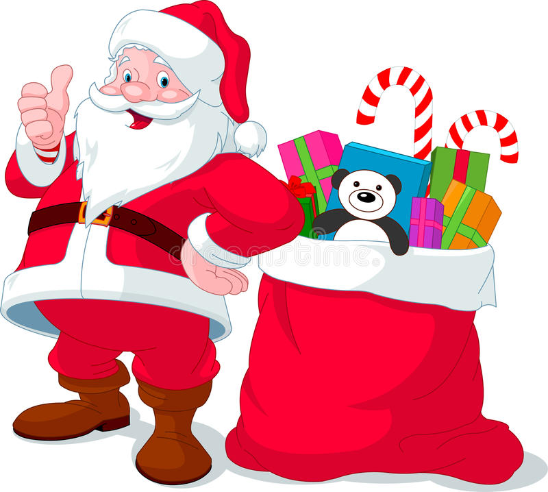 Papai Noel com o saco cheio dos presentes ilustração stock