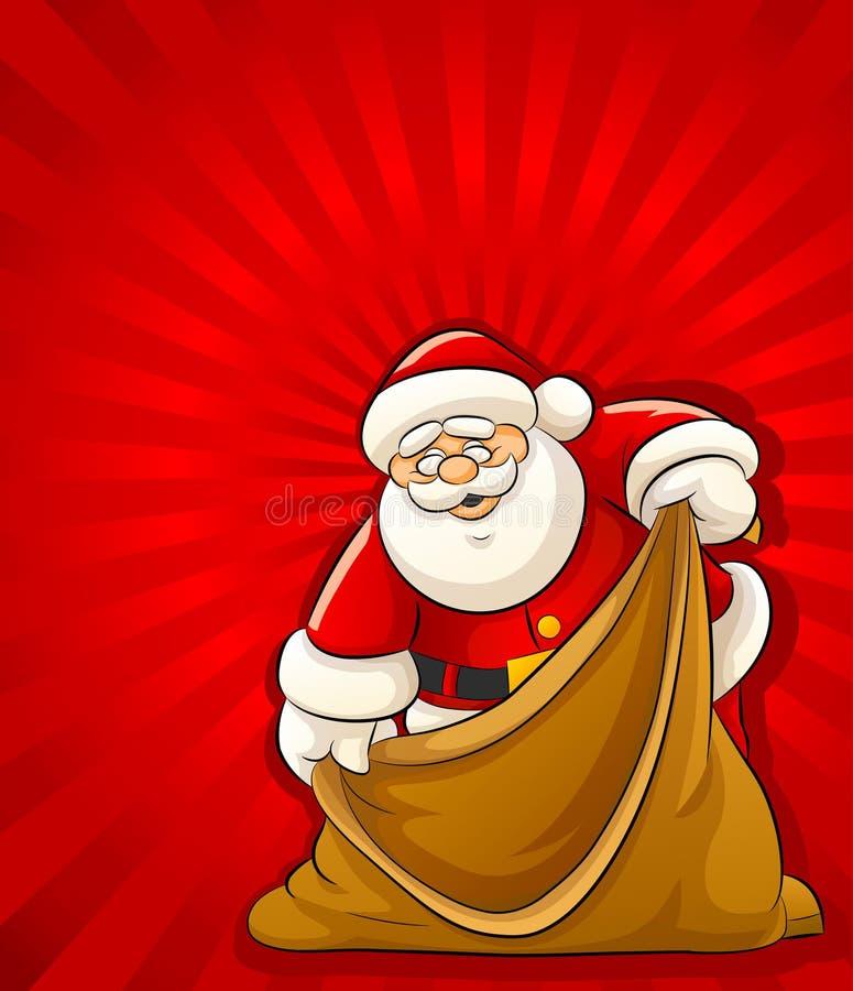 Papai Noel com o saco vazio para presentes do Natal ilustração stock