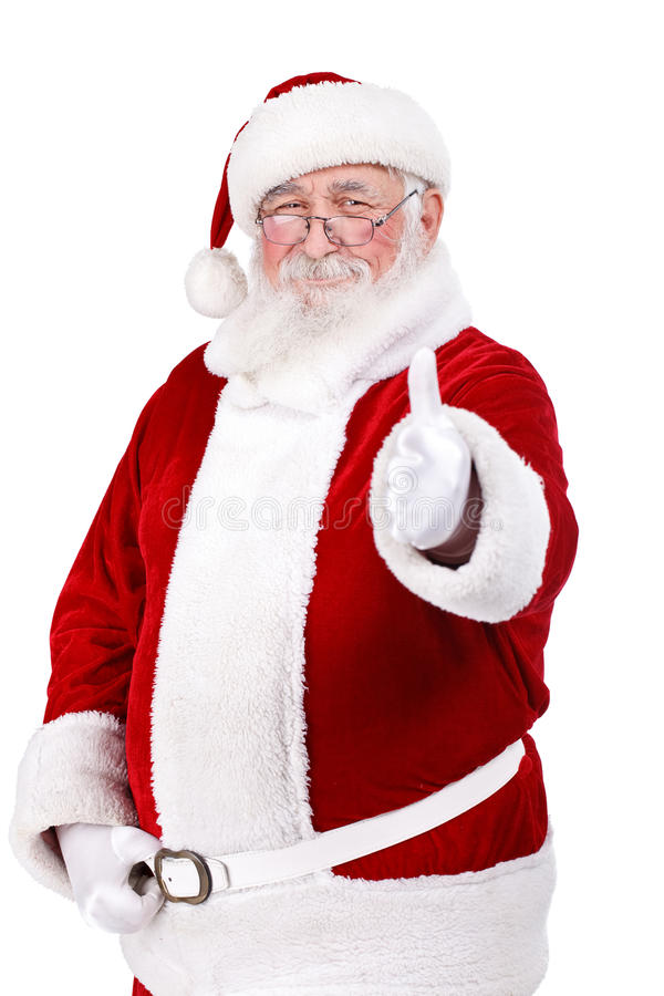 Papai Noel com polegar acima imagem de stock