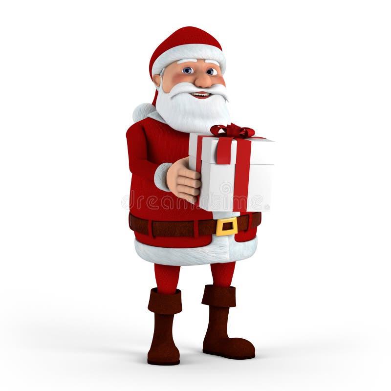 Papai Noel com presente ilustração royalty free