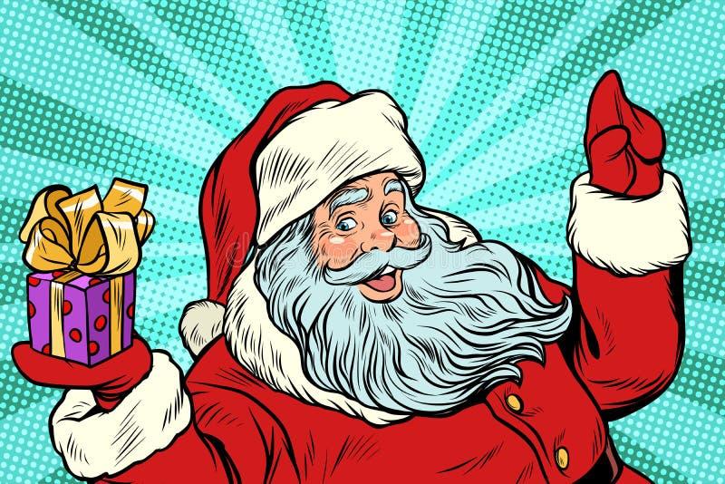 Papai Noel com presente Ano novo e Natal ilustração stock