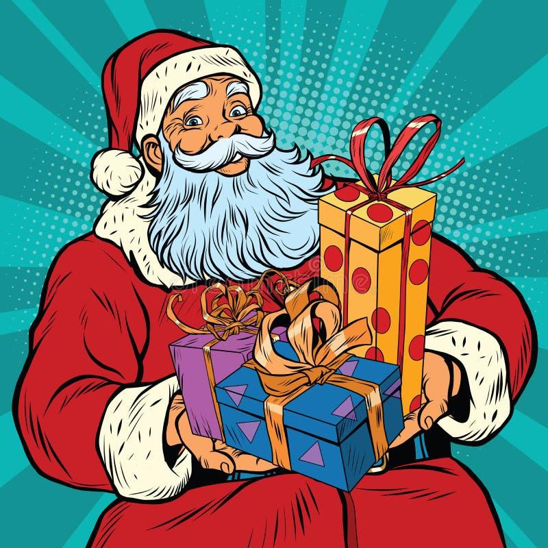 Papai Noel com presentes do Natal ilustração stock