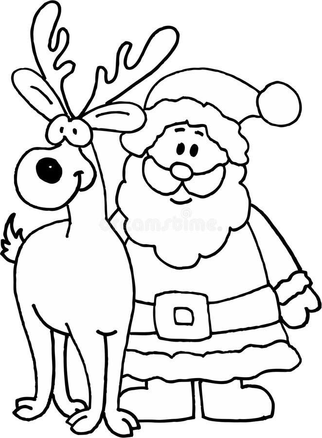 Papai Noel com rena ilustração royalty free