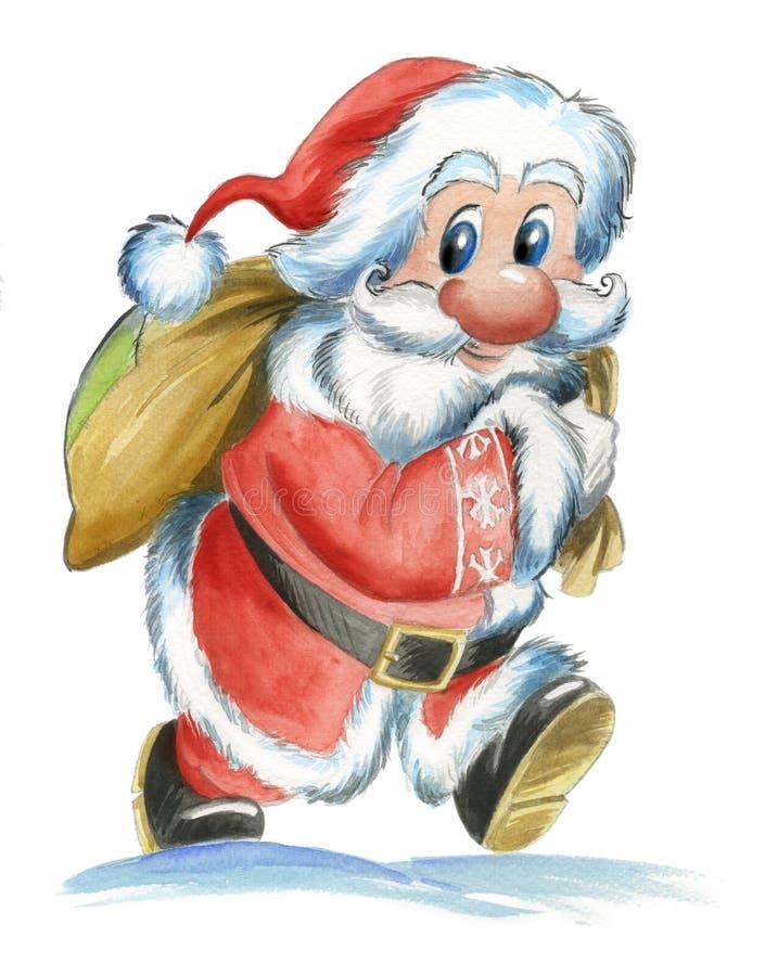 Papai Noel com saco ilustração stock
