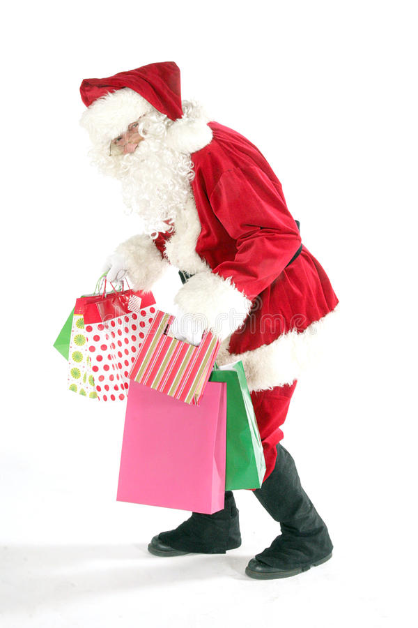 Papai Noel com saco de compra fotografia de stock royalty free