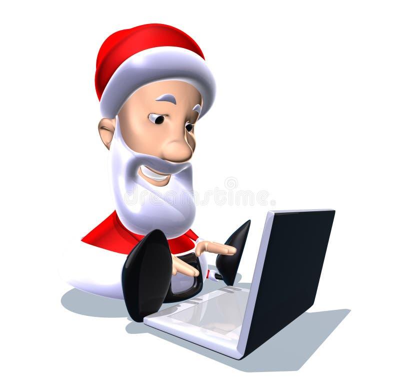 Papai Noel com um portátil ilustração do vetor