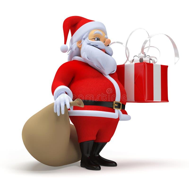Papai Noel com um presente ilustração royalty free