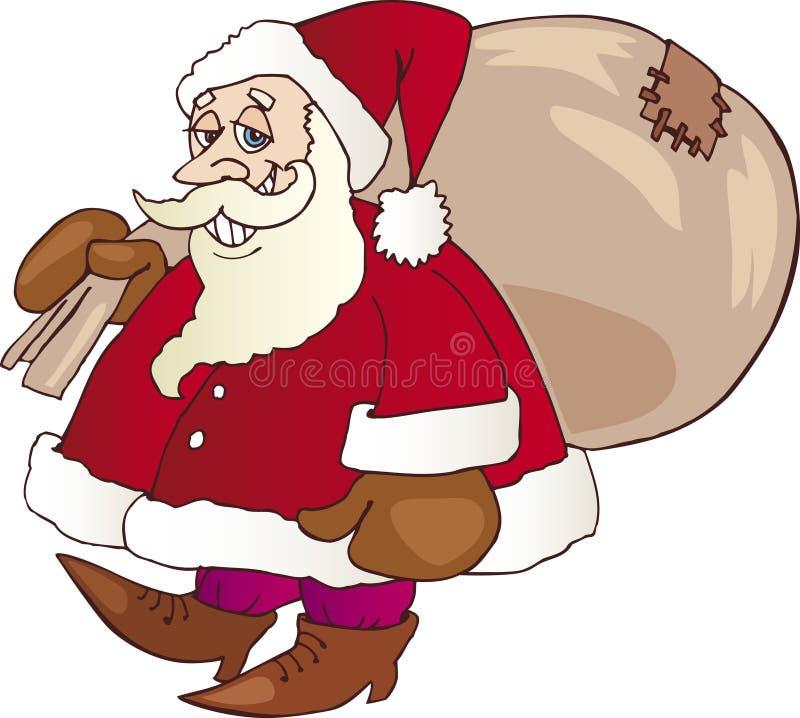 Papai Noel de passeio com saco imagens de stock