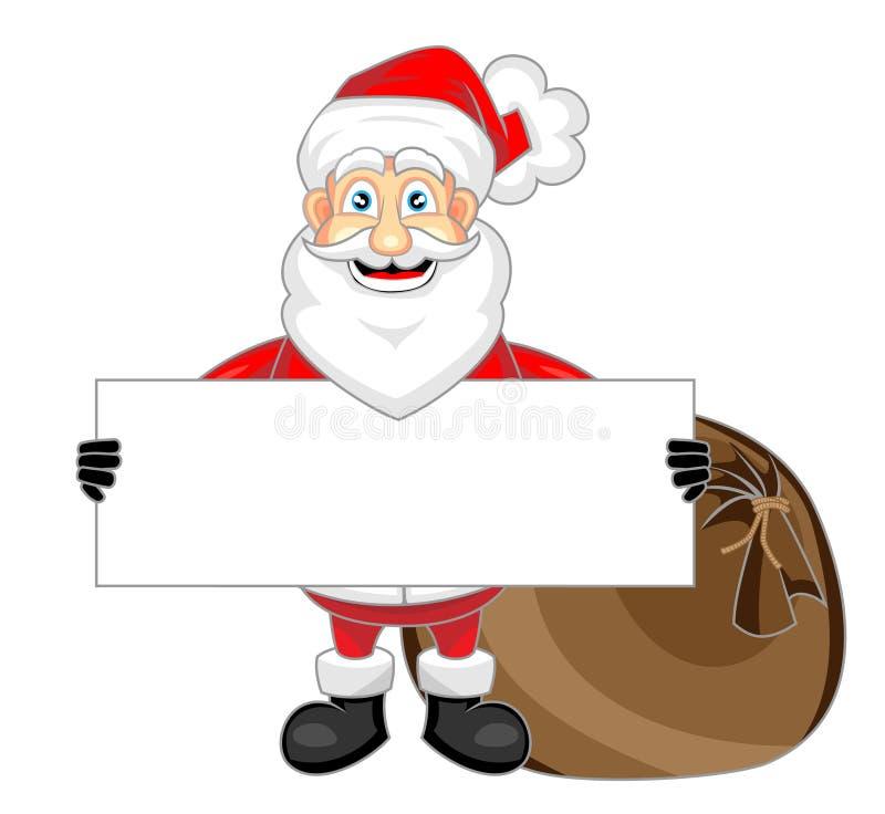 Papai Noel de vista feliz bonito que prende um sig em branco ilustração do vetor