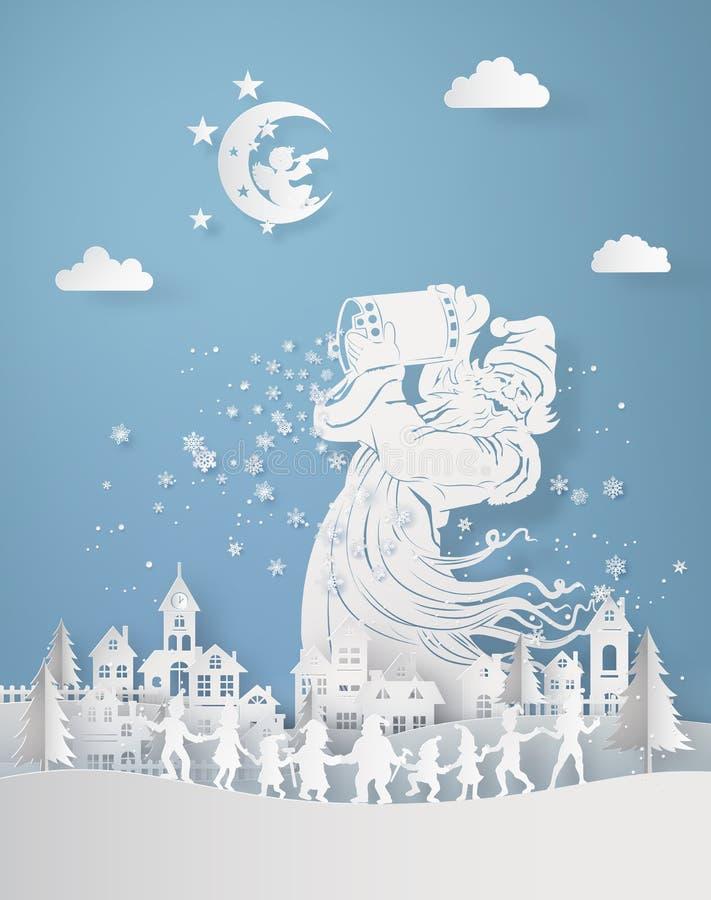 Papai Noel derrama para baixo o floco de neve na vila ilustração stock