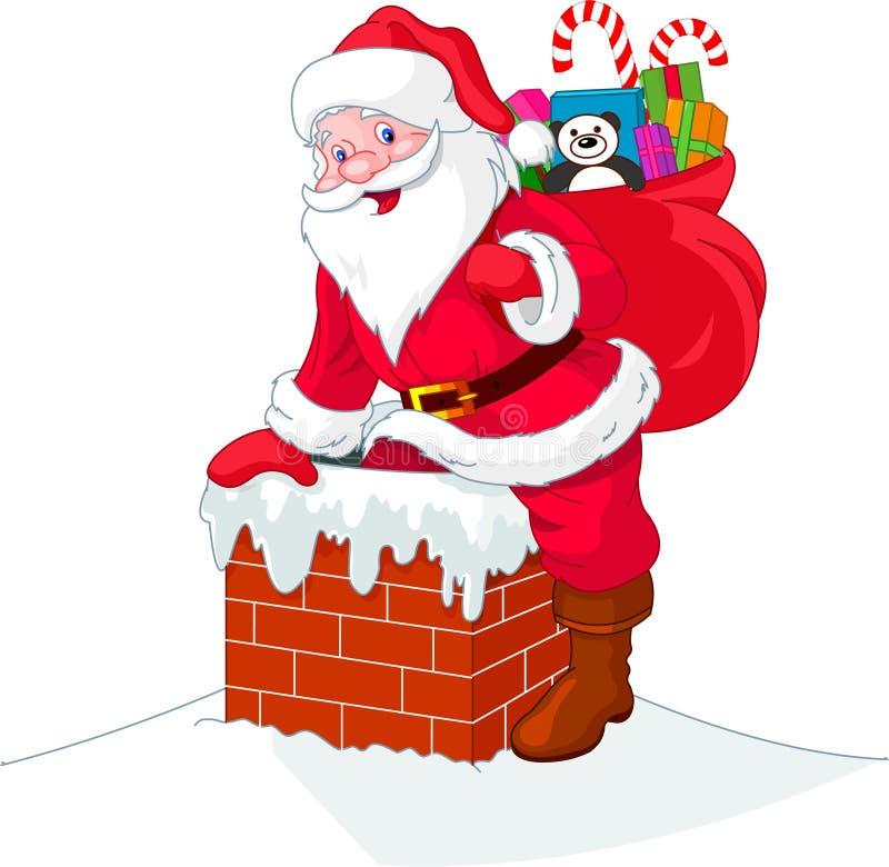 Papai Noel desce a chaminé ilustração royalty free
