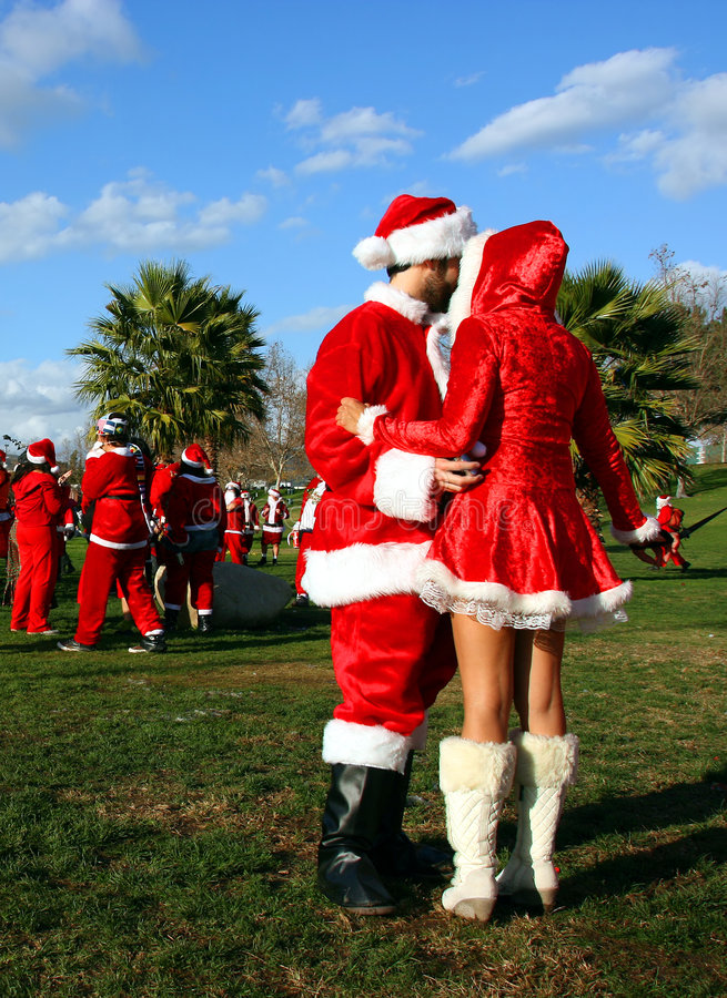 Papai Noel e donzela da neve imagens de stock