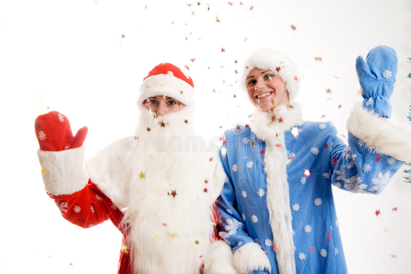 Papai Noel e donzela da neve fotografia de stock royalty free