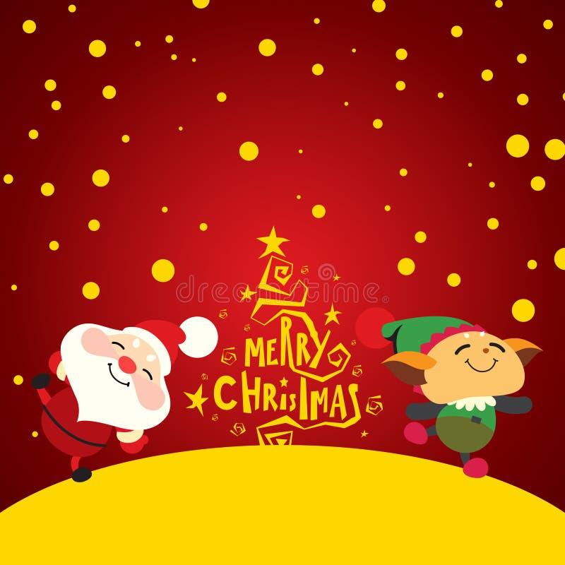 Papai Noel e duende felizes ilustração do vetor