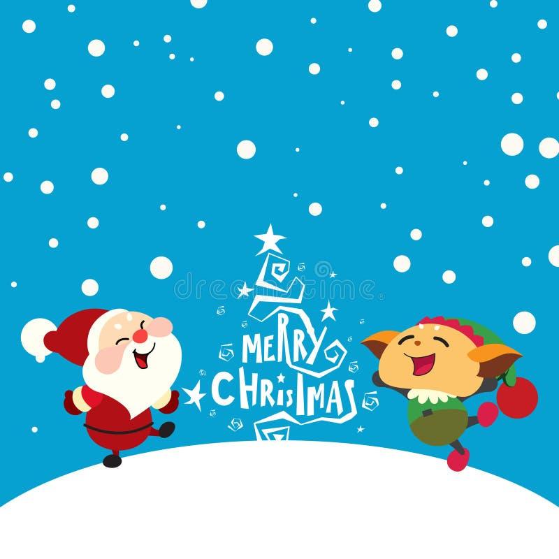 Papai Noel e duende felizes ilustração royalty free