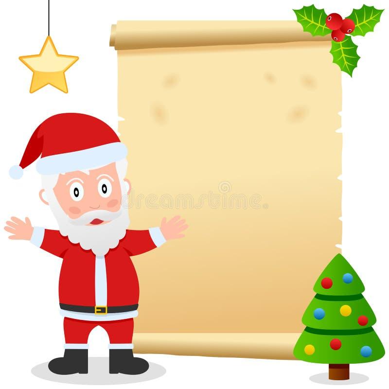 Papai Noel e pergaminho velho ilustração do vetor