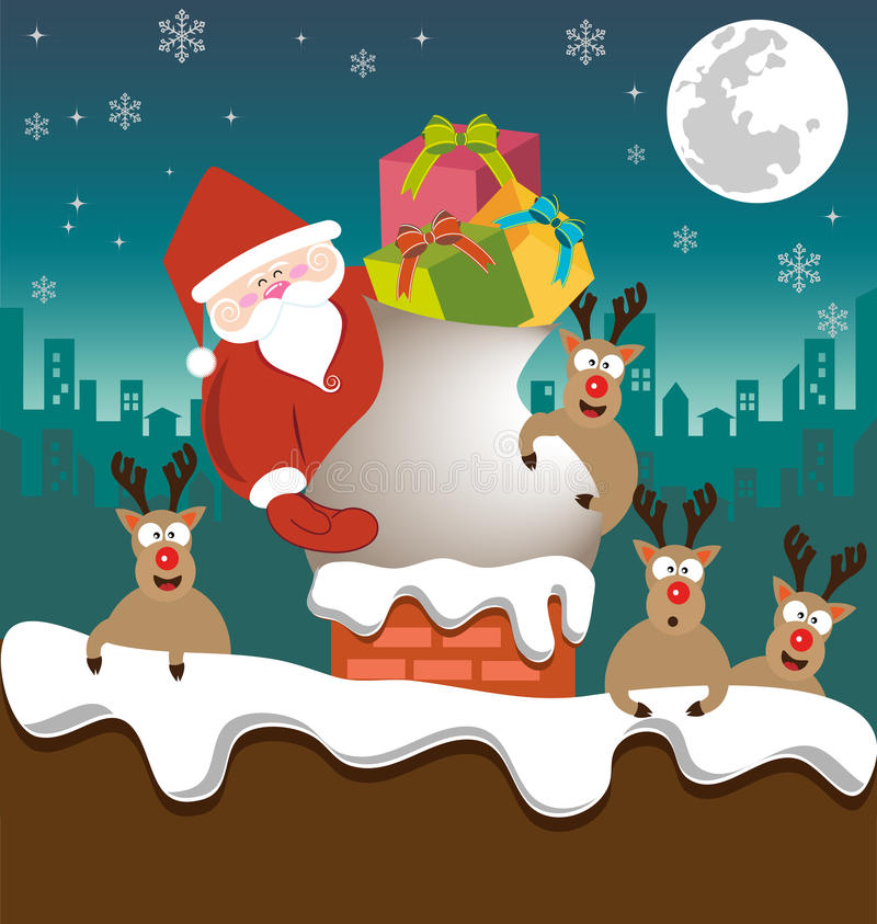 Papai Noel e a rena enviam presentes na chaminé ilustração royalty free