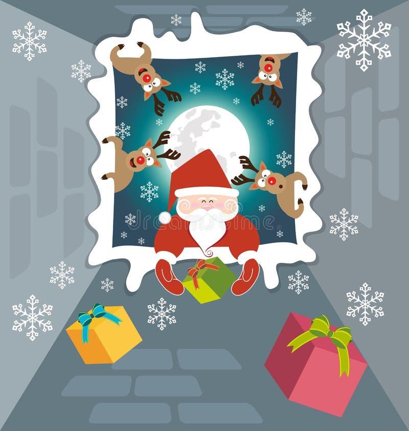 Papai Noel e a rena enviam presentes na noite de Natal 1 ilustração do vetor