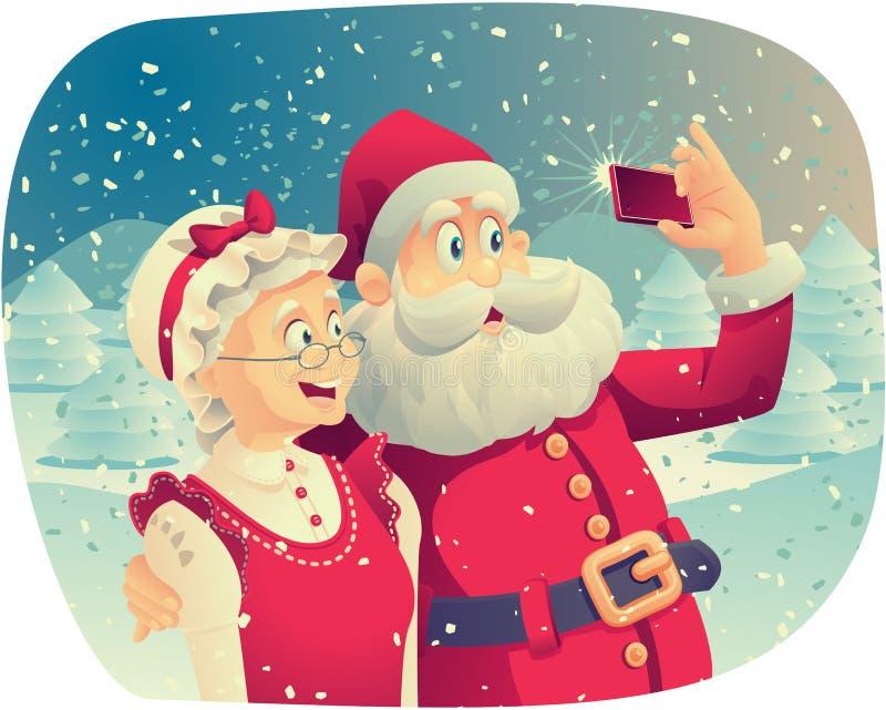 Papai Noel e Sra Claus Taking uma foto junto ilustração do vetor