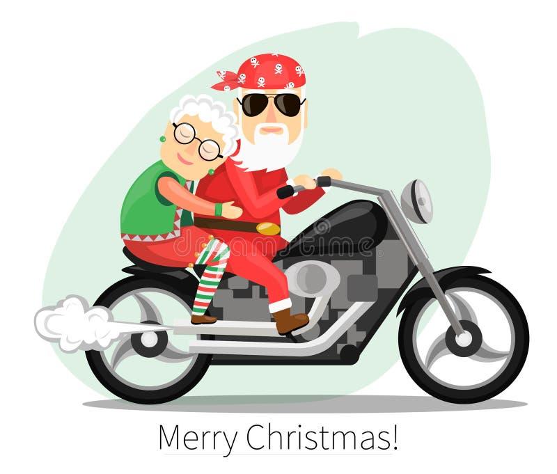 Papai Noel e Sra montada em uma motocicleta íngreme ilustração stock