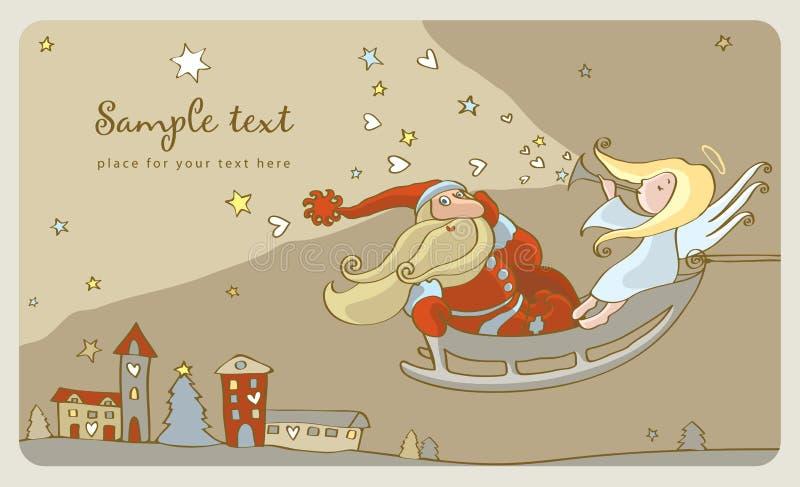 Papai Noel e um anjo em um trenó. cartão ilustração do vetor