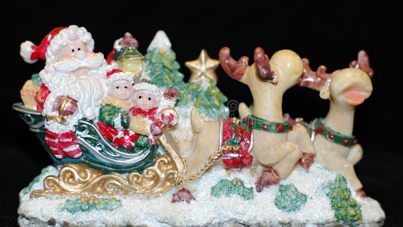 Papai Noel em cervos fotos de stock royalty free